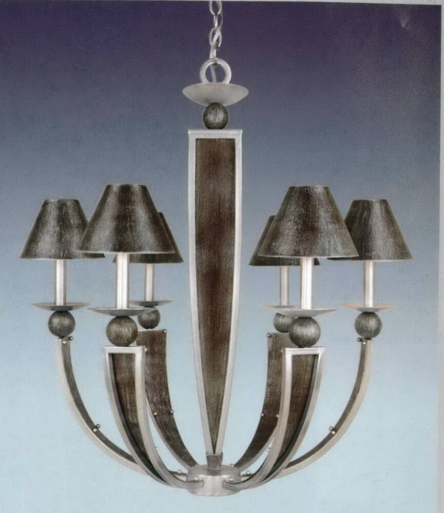Antique silver and brushed nickel with metal shades 6 light chandelier ebay - Lighting and chandeliers ...