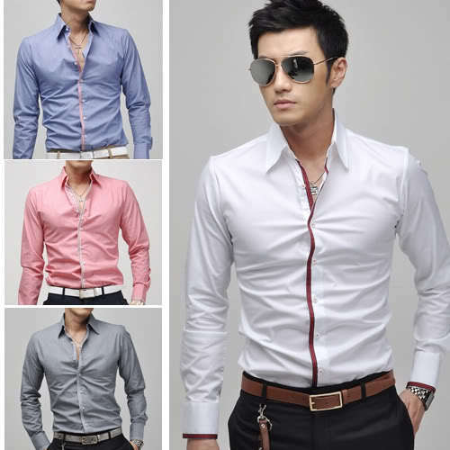 New 2016 collection mens stylish sexy formal casual slim for Mens slim fit formal shirts uk