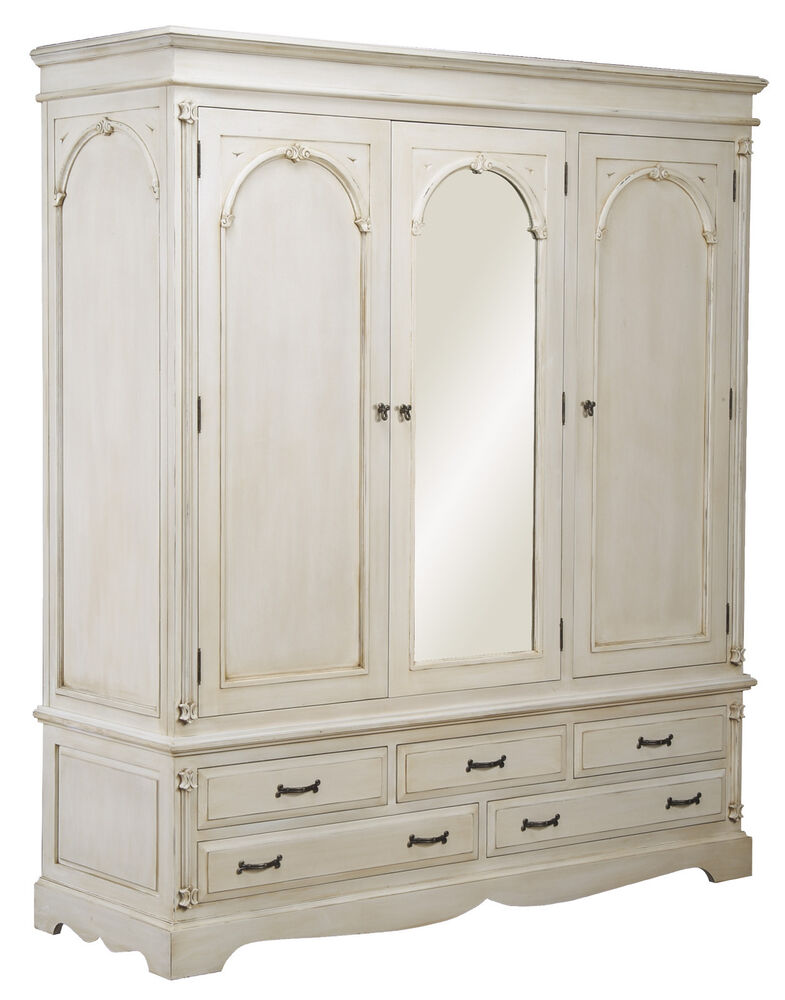 VICTORIAN PAINTED PINE IVORY LARGE TRIPLE WARDROBE ARMOIRE ...
