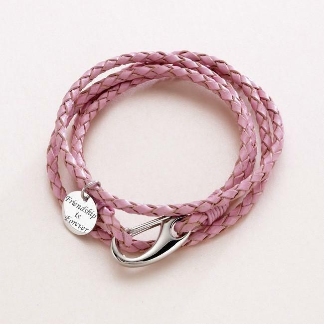 Leather Wrap Charm Bracelet: Ladies Pink Leather Wrap Bracelet Personalised / Engraved
