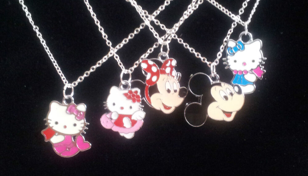 Child girl boy pendant necklace gift box hello kitty for Minnie mouse jewelry box