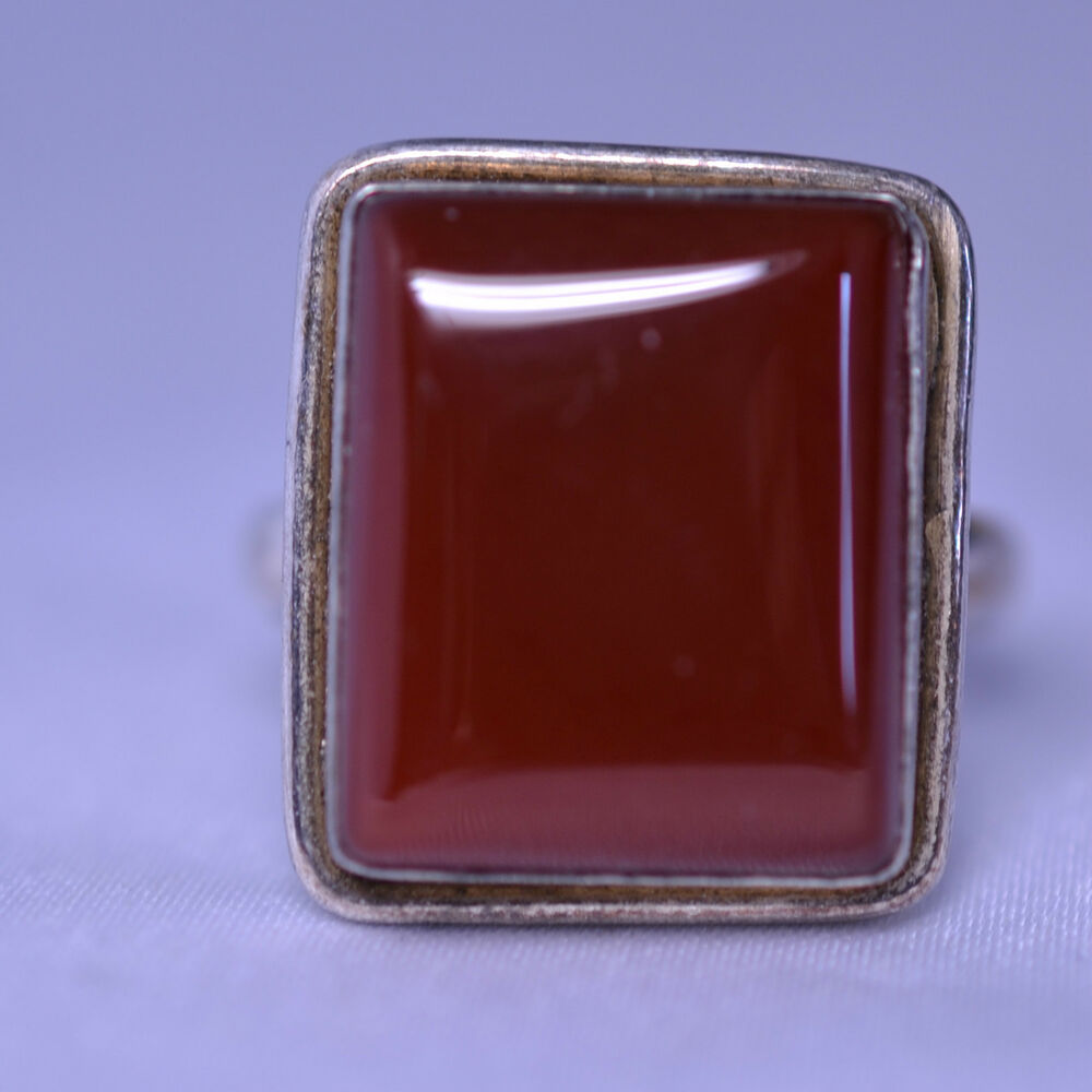 sterling silver mens large rectangular carnelian ring