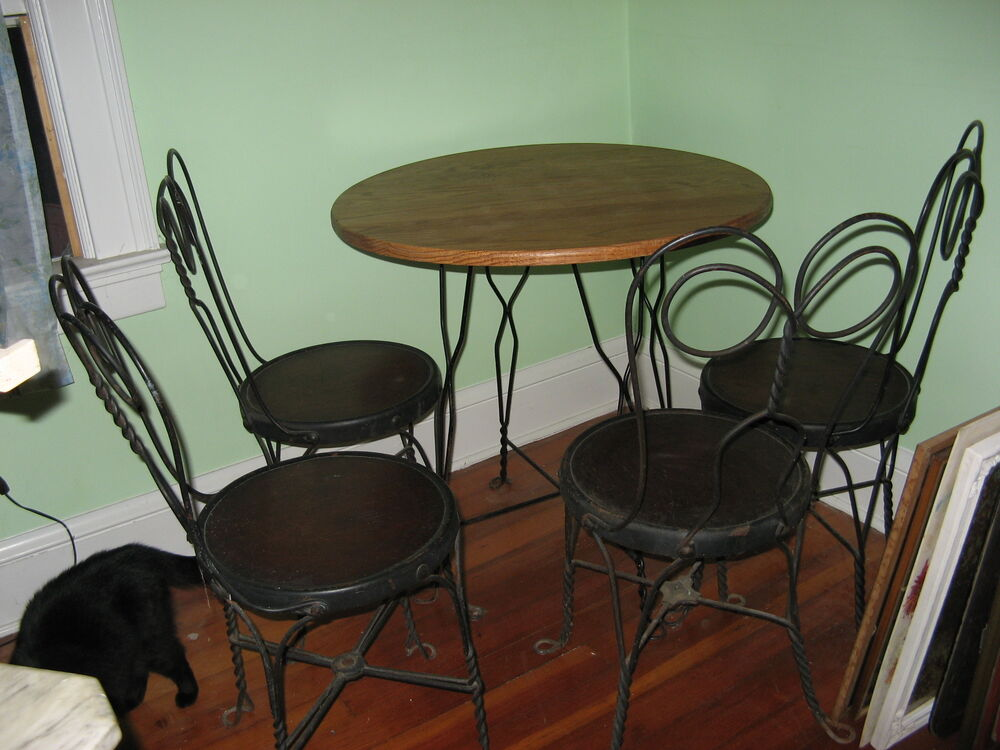 Vtg Antique Ice Cream Parlor Set Table 4 Chairs Original Wood Iron Dining Bis
