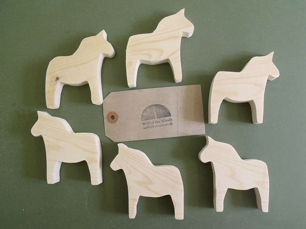 Pine wooden dala horse craft shapes for decoupage for Wooden horseshoes for crafts