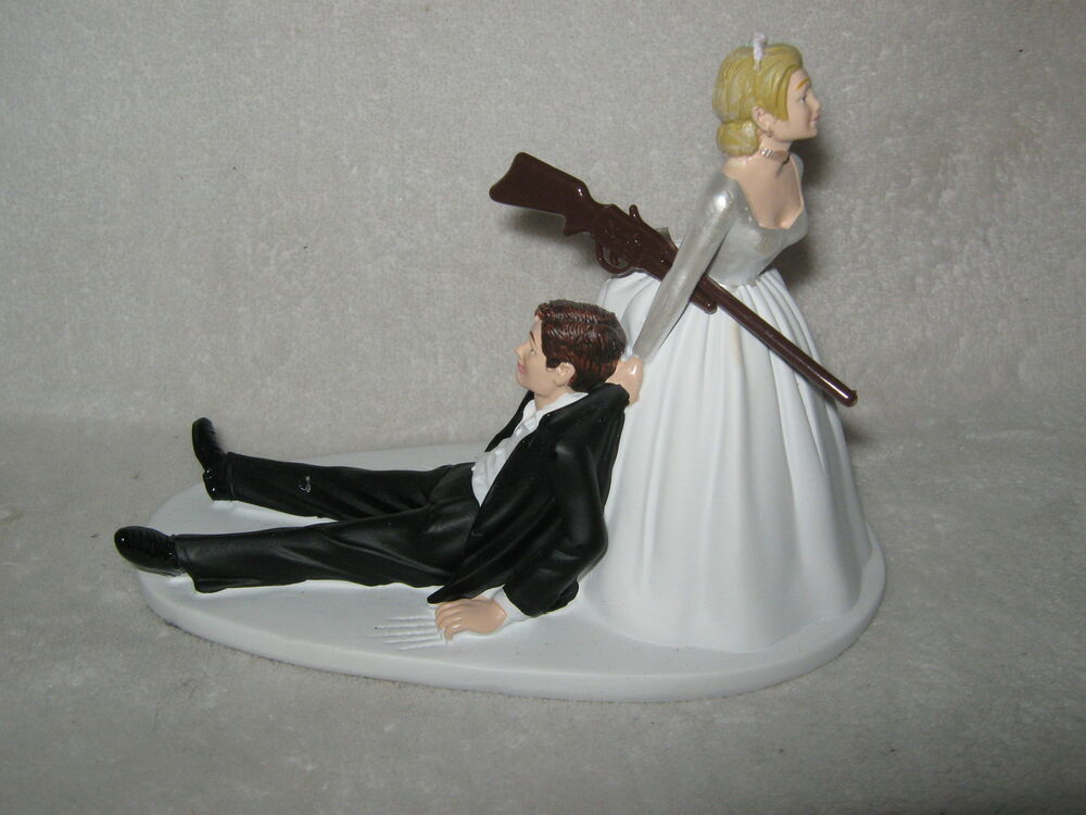 funny wedding cake figures wedding reception cake topper rifle 14568