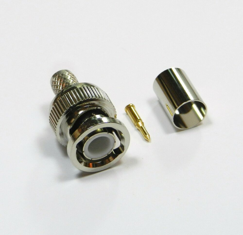 Security Camera Cables And Connectors : Pack bnc crimp on rg coax cable adapter connector for