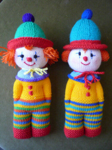 Knitting Pattern For Clown Doll Toy 8ply 20 Ebay