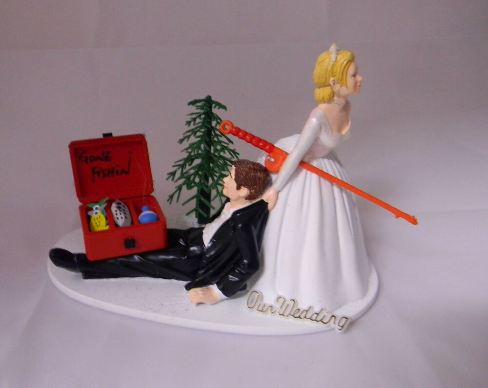 Wedding party reception fishing fisherman sign tackle box for Fishing cake topper