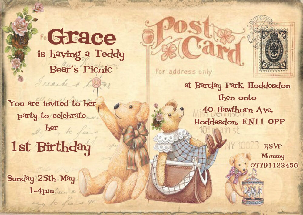 Personalised childrens 1st birthday,TEDDY BEARS PICNIC,postcard ...