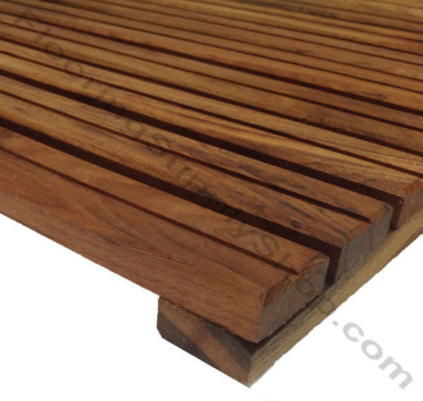 Solid Premium African Teak Wood Mat Single Groove 16 For