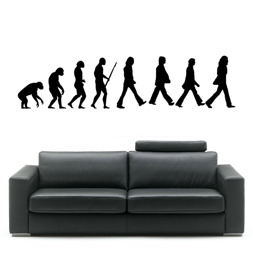 EVOLUTION OF MAN THE BEATLES wall art room sticker vinyl ...