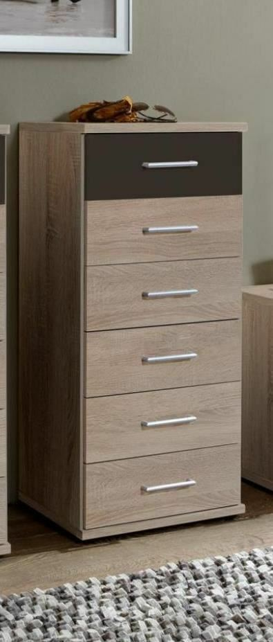 german tall narrow chest of 6 drawers in lava charcoal grey oak ebay. Black Bedroom Furniture Sets. Home Design Ideas