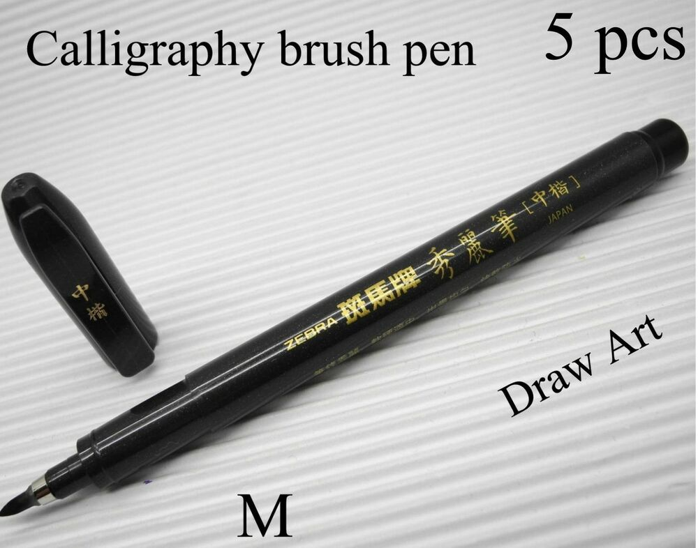 5 pcs zebra calligraphy brush pen black m nib draw art Drawing with calligraphy pens