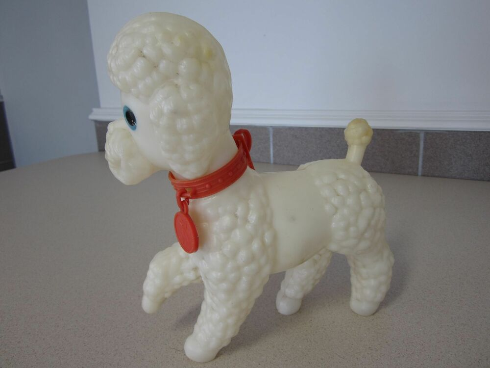 Fake Toy Dogs : Russian white poodle dog vintage toy hard plastic s