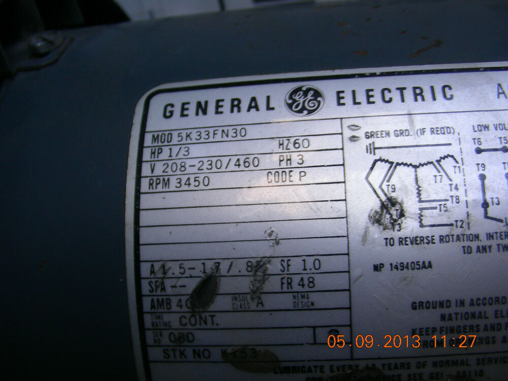 ge electric motor 1 2 hp model 5k33fm30 ebay