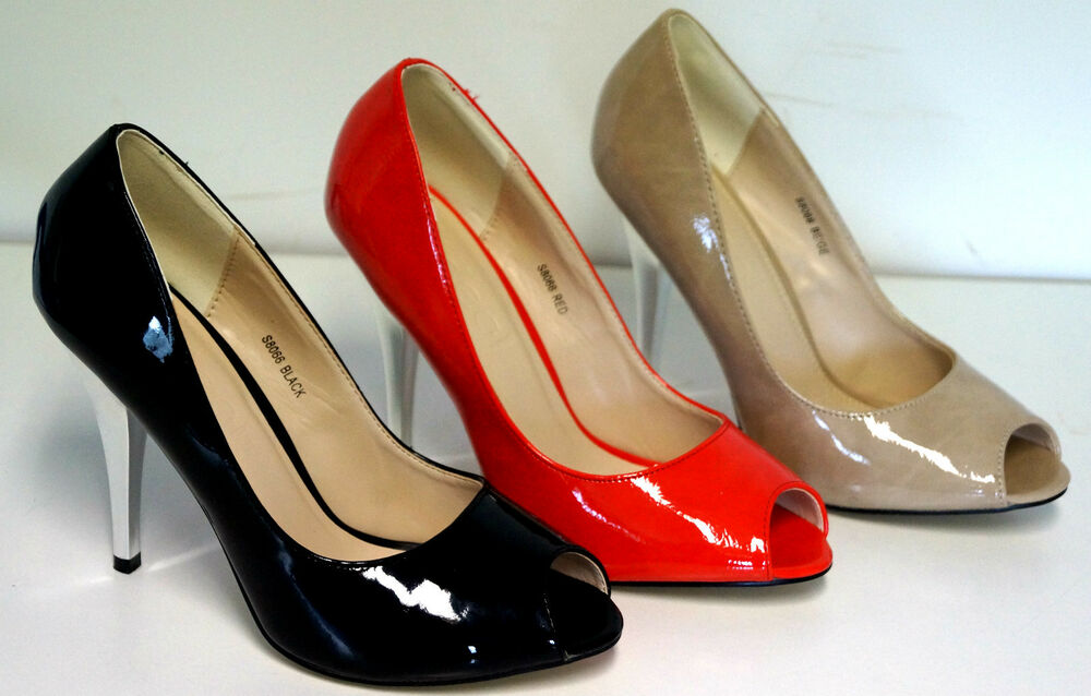 chaussure femme escarpin vernis bout ouvert talon argent 10 cm noir beige rouge ebay. Black Bedroom Furniture Sets. Home Design Ideas