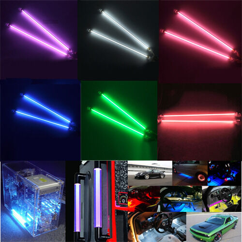 2pcs 6 12 Ccfl Interior Exterior Neon Tube 12v Car Decor Lights Pc Bright Ebay