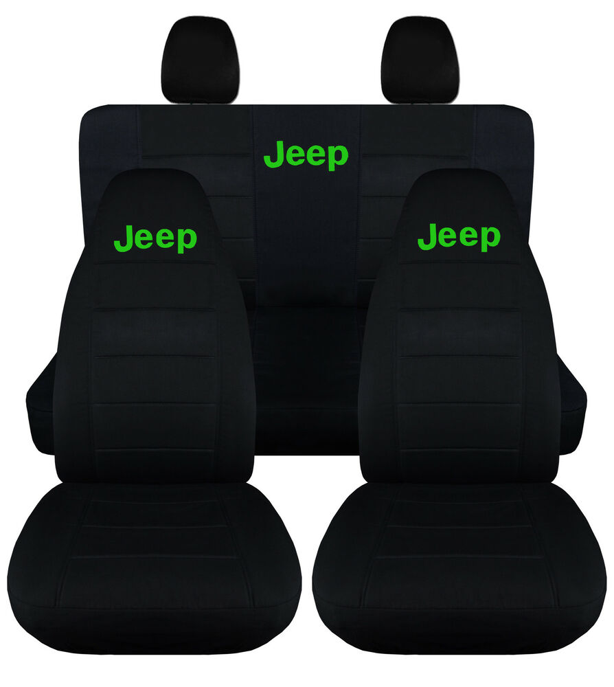 Jeep Sahara Seat Covers >> 2013 Jeep wrangler JK front+back car seat covers solid black w/Jeep, Sahara spor | eBay