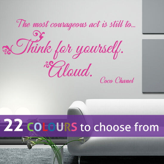think for yourself coco chanel quote cc girls fashion wall sticker