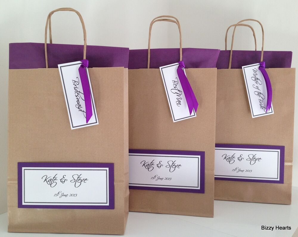 Personalised Wedding Gift Bags Uk : BROWN LUXURY PERSONALISED PAPER WEDDING FAVOUR PARTY GIFT BAG COLOURED ...
