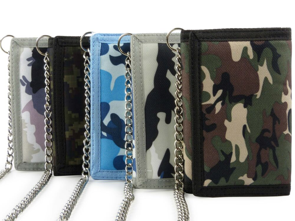 Mens Boys CAMOUFLAGE Wallet with Chain & Clip Canvas ...