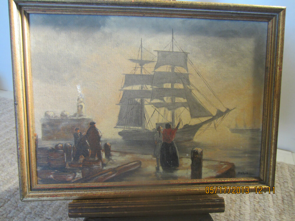 nautical decor signed original oil painting ebay. Black Bedroom Furniture Sets. Home Design Ideas