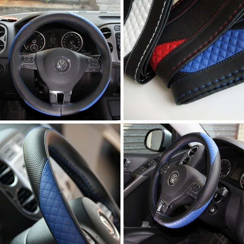 black blue pvc leather steering wheel cover w needle thread diy chevy dodge ebay. Black Bedroom Furniture Sets. Home Design Ideas