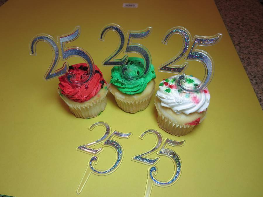Cupcake Decorating Ideas For Anniversary : 12 - 25th Sliver Wedding Anniversary Cupcake Picks Toppers ...