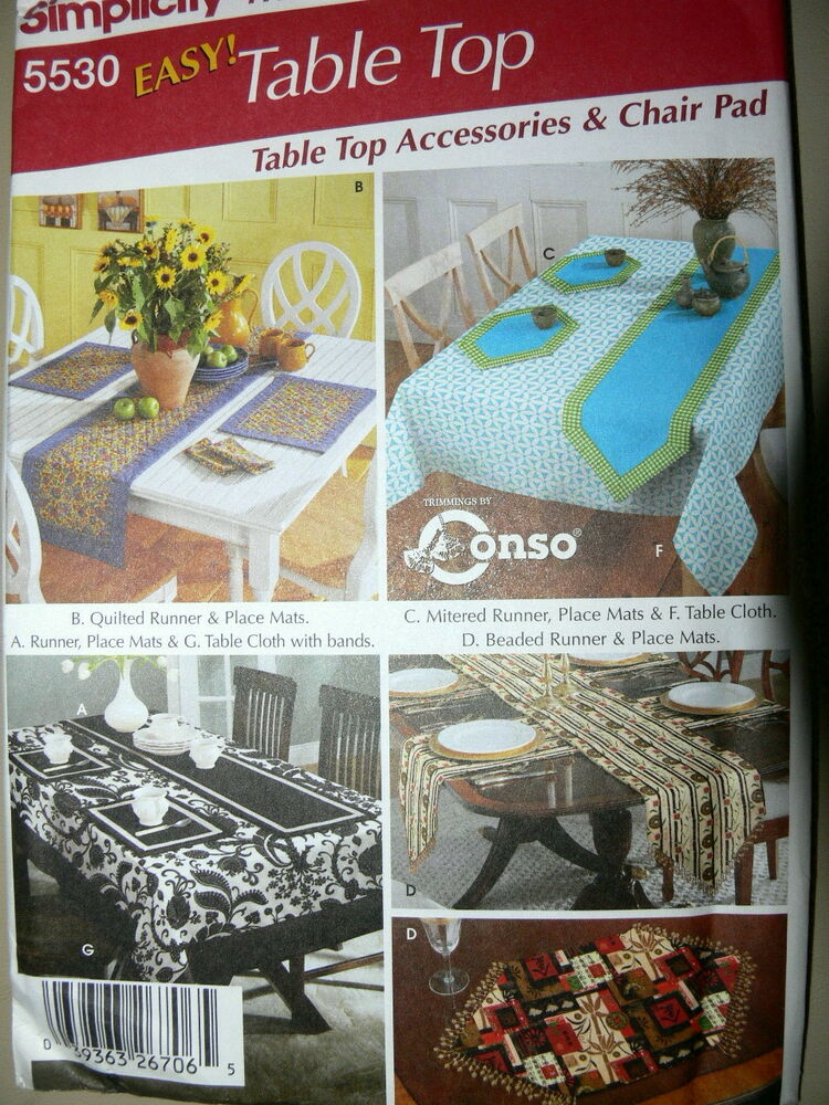 Http Www Ebay Com Itm Simplicity Pattern 5530 Home Decor Table Clothes Runners Chair Covers 290923772160