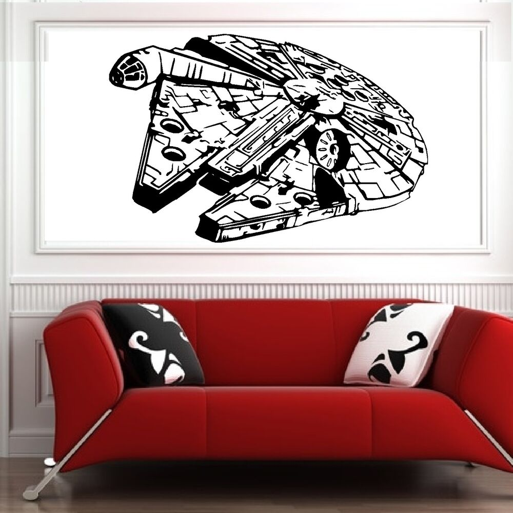 star wars wall decals millenium falcon wars vinyl wall decal sticker 30090