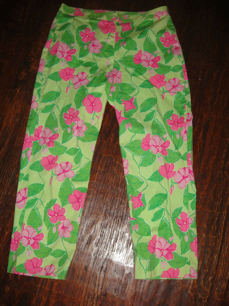 Lilly Pulitzer Lime Green Hot Pink Hibiscus Stretch