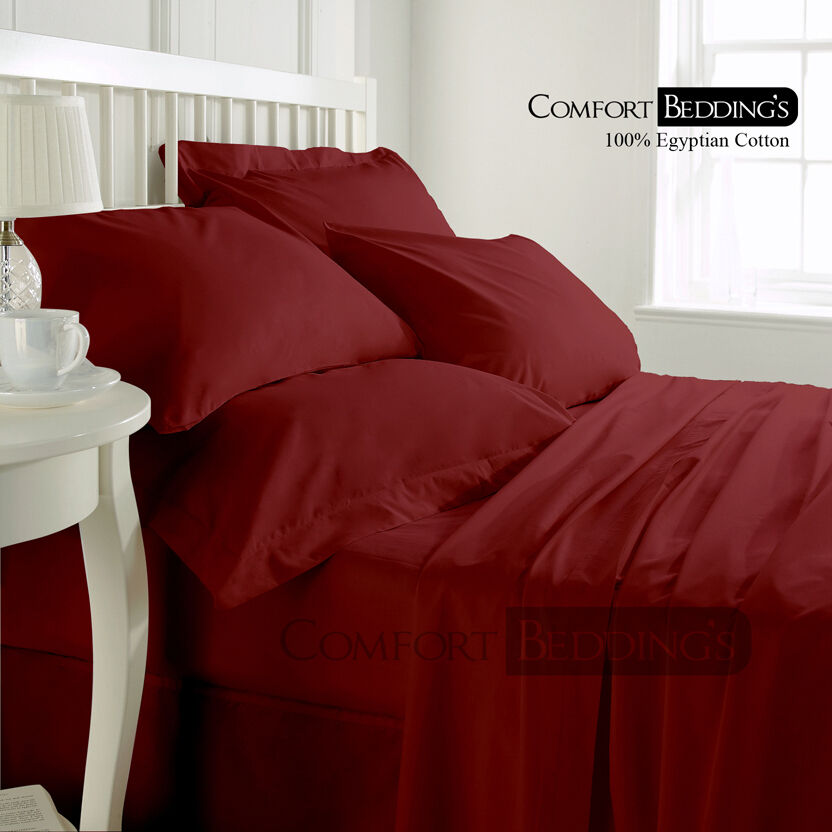Best price 1000tc luxurious hotel brand burgundy bedding for Best egyptian cotton bed sheets