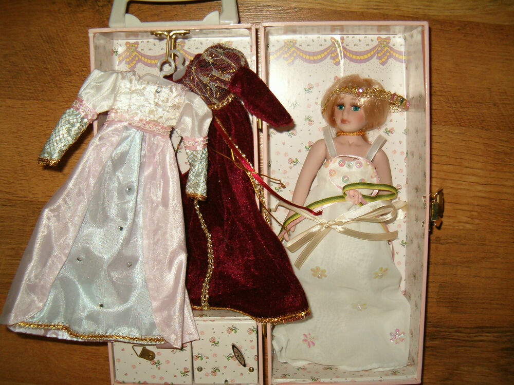 Pink Musical Box With Porcelain Doll And Extra Clothes