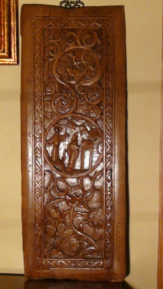 Antique c chinese elm wood hand carved panel depicts
