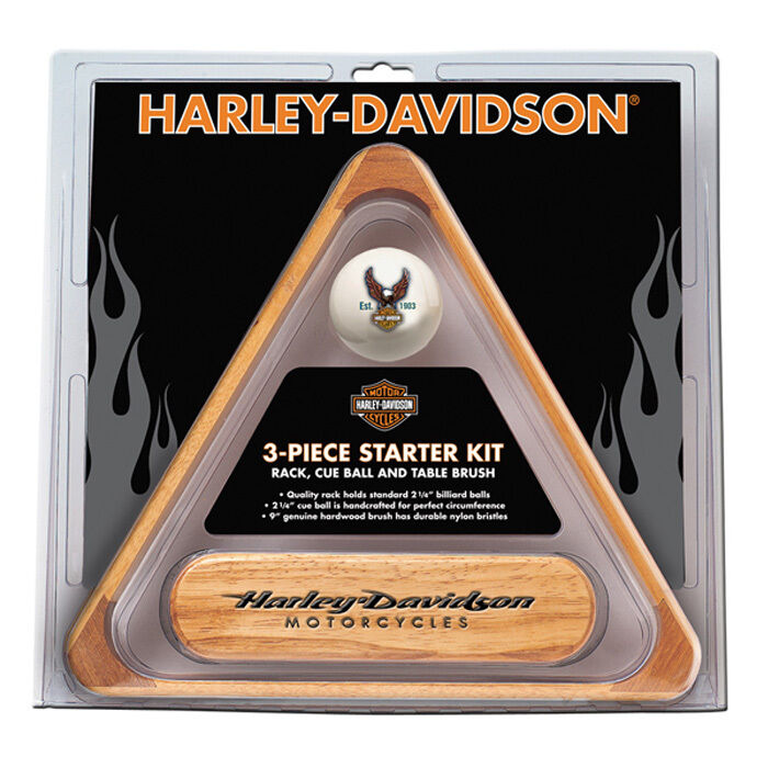 Harley-Davidson® 3PC. Billiards Starter Set Solid Wood