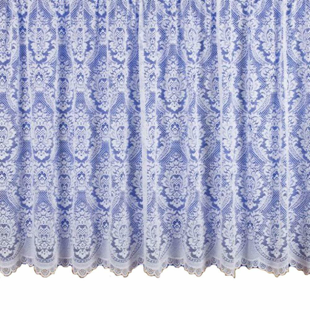 White Net Curtain Heavy Thick Traditional Lace Damask