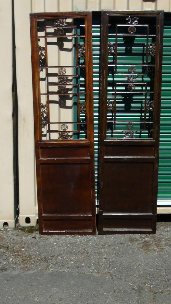 Two Antique 19c Chinese Transom Panel Door Elm Wood W Open Lattice Upper Panel Ebay