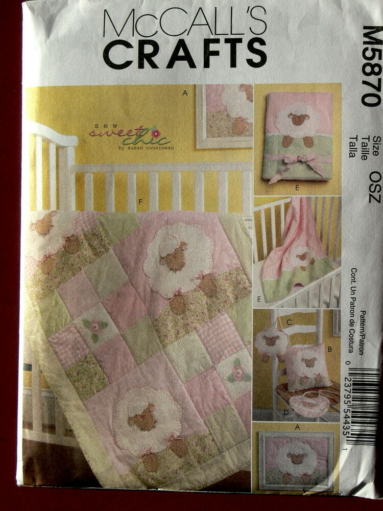 Baby Quilt Patterns Mccalls : McCall s Pattern 5870 Nursery Quilt, Blanket, Pillow, Framed Lamb, Toy and Bib eBay