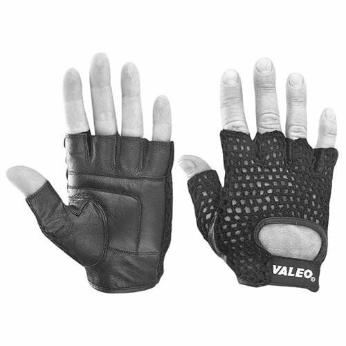 Black Leather Weight Lifting Workout Gloves: Valeo Leather Mesh Black Weight Lifting Fitness Workout