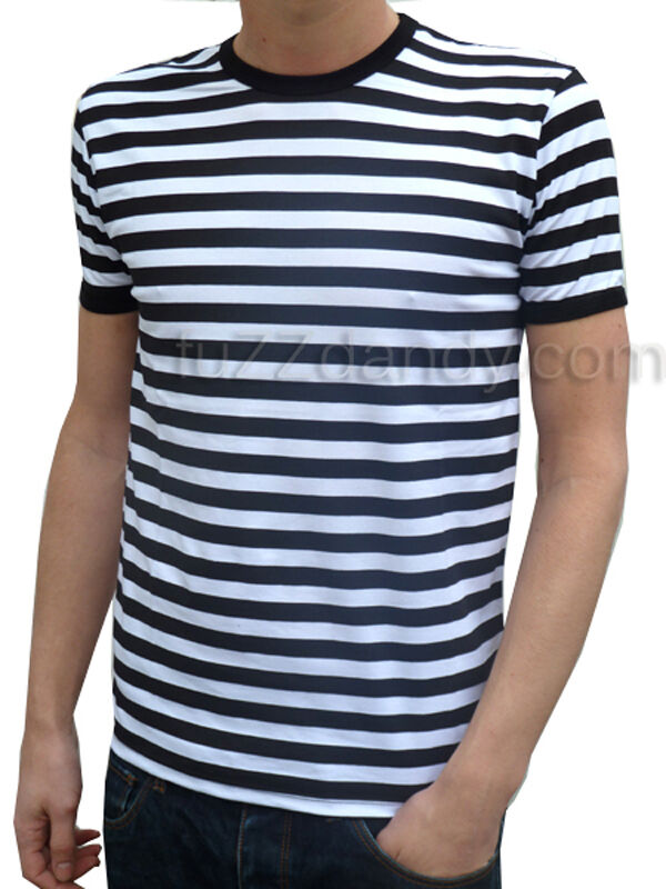 t shirt herren gestreift schwarz wei indie mod matrose preppy nautisch neu ebay. Black Bedroom Furniture Sets. Home Design Ideas