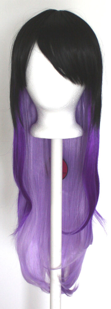 28 Long Straight Layered Fade Black To Purple Cosplay