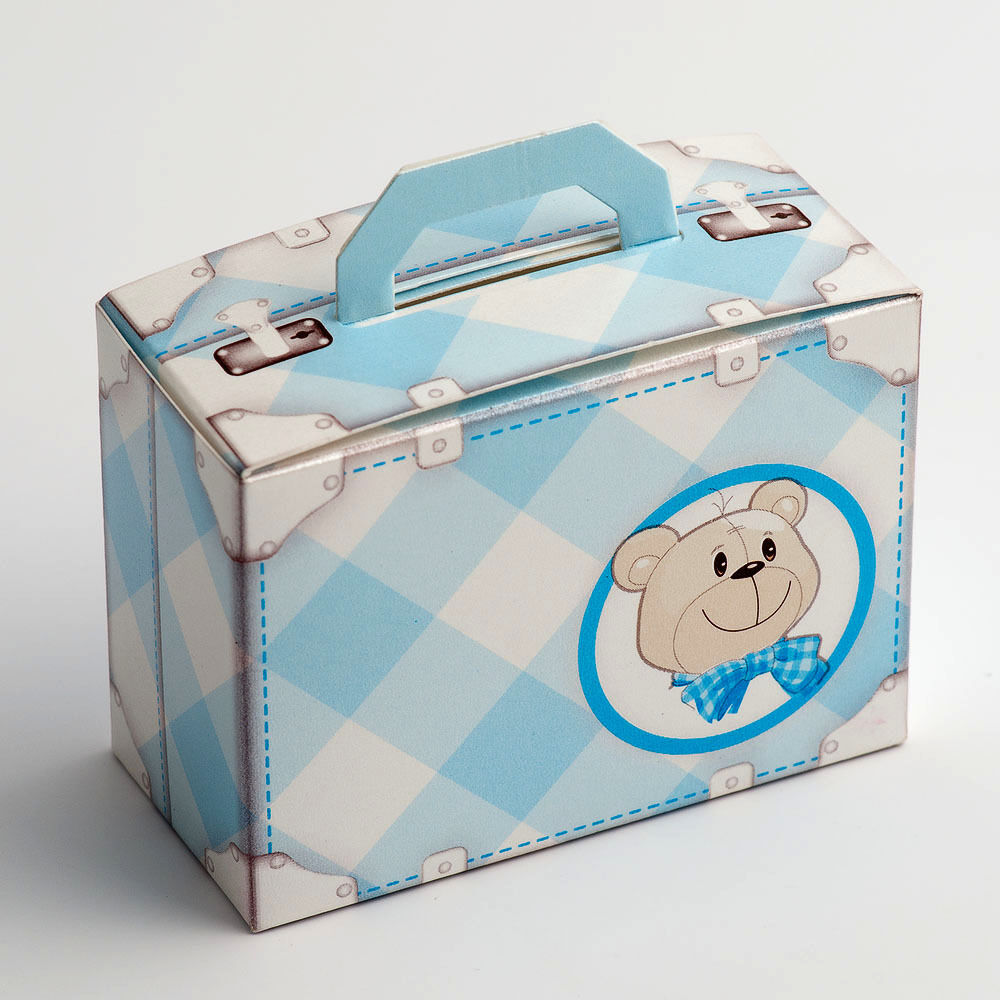 Favour Boxes Baby Blue : Teddy bear blue baby suitcase christening wedding favour