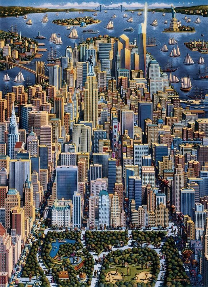 Dowdle Folk Art Collectors Jigsaw Puzzle New York 500 Pcs