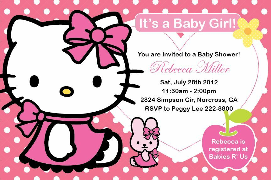 hello kitty girl birthday party or baby shower custom invitation print your own ebay. Black Bedroom Furniture Sets. Home Design Ideas