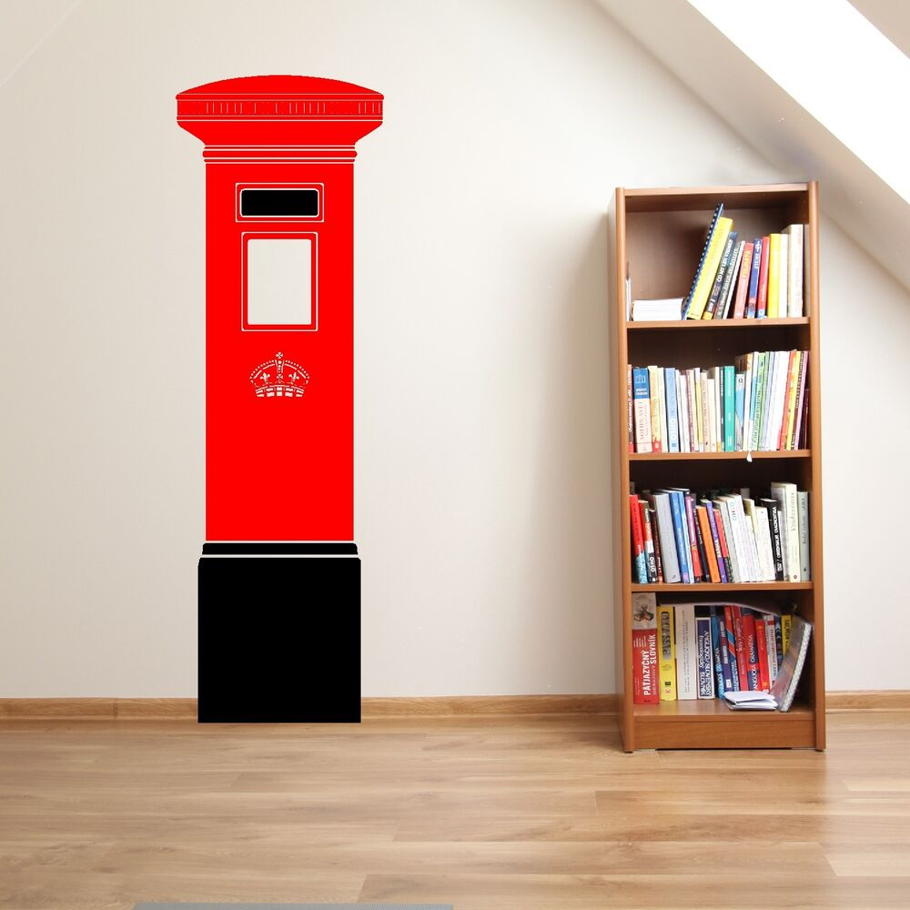 uk postbox letterbox 48cm x 150cm vinyl wall art sticker. Black Bedroom Furniture Sets. Home Design Ideas