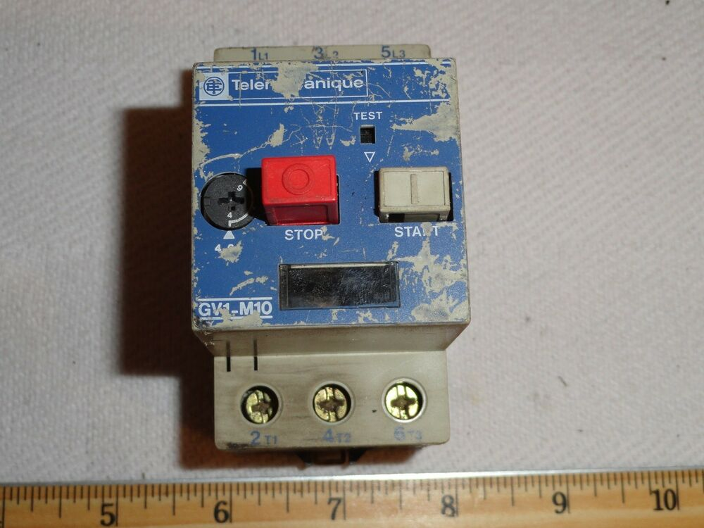Telemecanique gv1 m10 motor starter circuit protector 6a for Stop start motor control