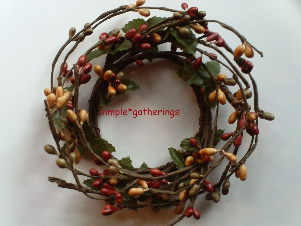 One 2 quot pip berry taper candle ring barn red green amp tan primitive