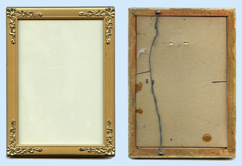 Original antique wood picture frame with brass decorative for Picture frame corners