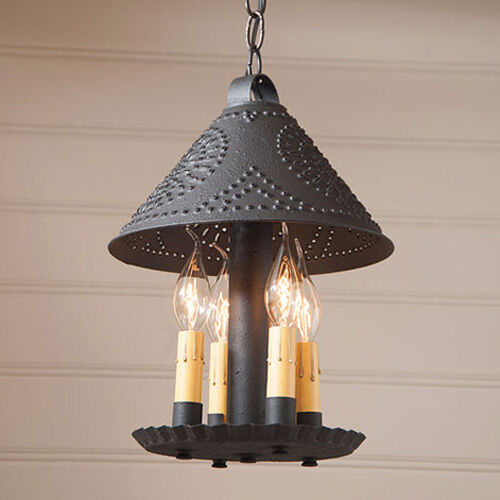 britton handcrafted punched tin hanging pendant light in