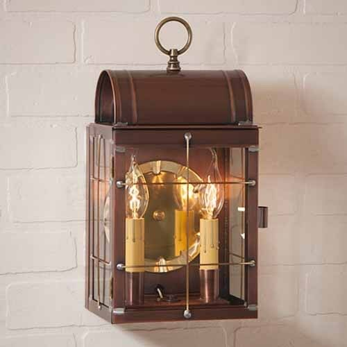 outdoor wall lantern in solid antique copper exterior lighting
